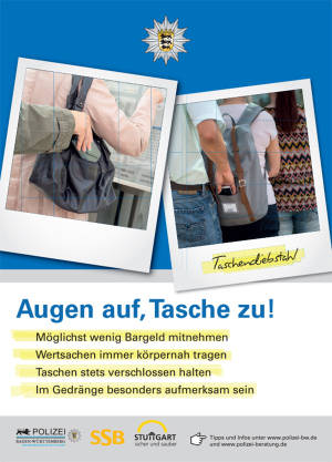 140822 - AUFKLEBER (35 x 25 cm) - Taschendiebstahl [DRUCKVORLAGE